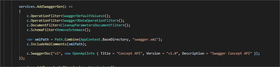 Swagger document configuration