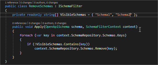 Remove schemas from Swagger